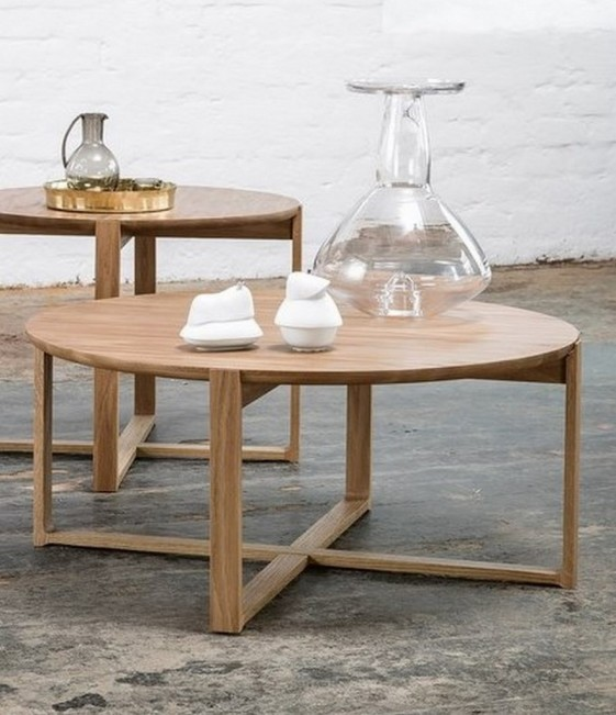 Table basse ronde delta coffee en ch ne naturel massif - Table basse en chene massif ...
