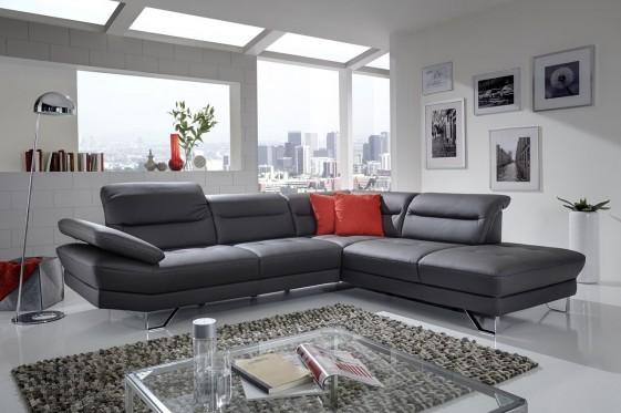 Canapé angle cuir ou tissu 5 places design AFFEC X livraison gratuite