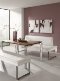 Banquette cuir SoftWay 220 cm, pieds chromés