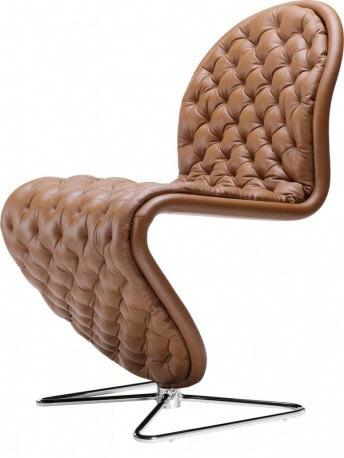 Chaise Deluxe Verpan pied papillon cuir pleine fleur Masérati